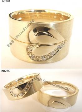 Trauringe & Eheringe Online Shop - 585er Gelbgold Trauringe Herz